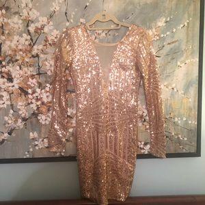 Rose Gold Open Back Long Sleeve Sequin Dress